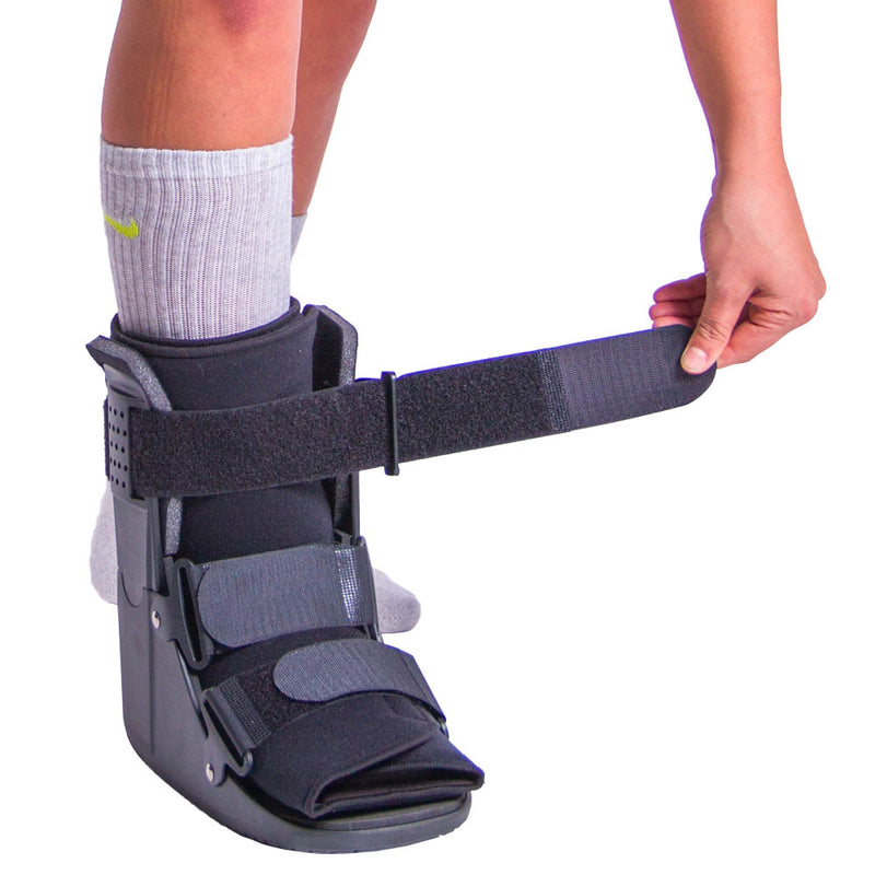 Velcro straps allow for quick and easy application and adjustment of metatarsal stress fracture cast