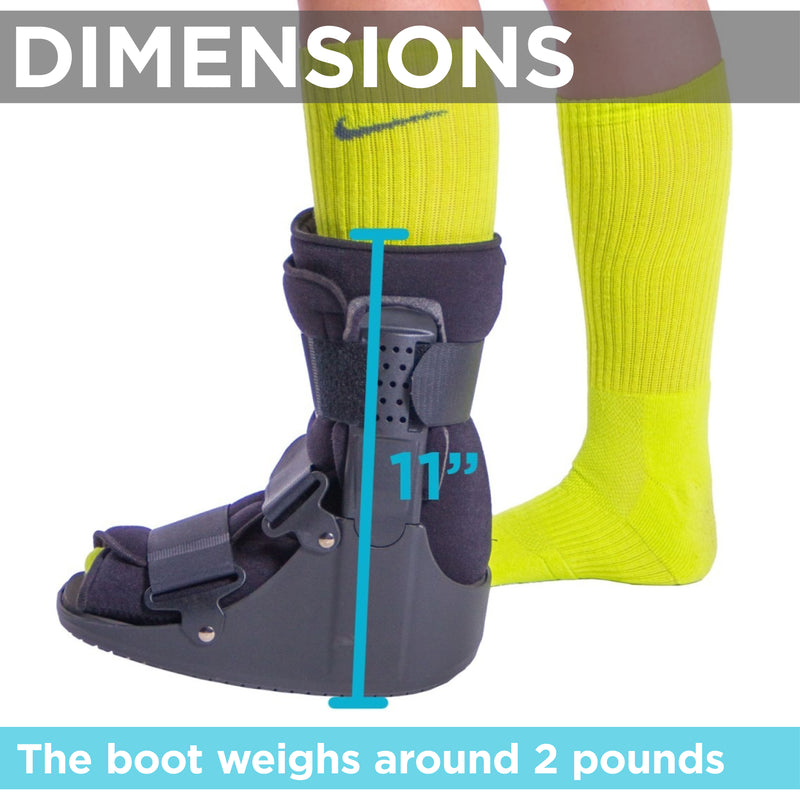 Short orthotic boot for foot injuries is 11 inches tall and is 2 pounds