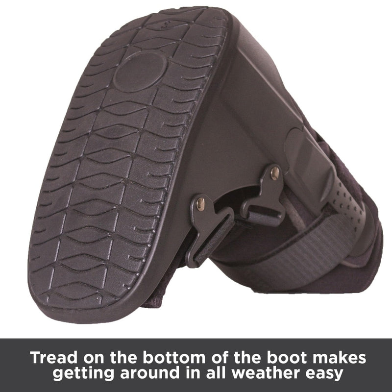Tread on bottom of walking boot makes getting around in all weather conditions easy and safe
