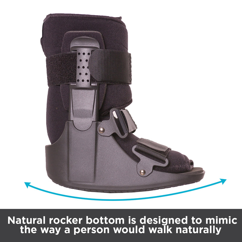 Natural rocker bottom is designed to mimic the way a person would walk naturally