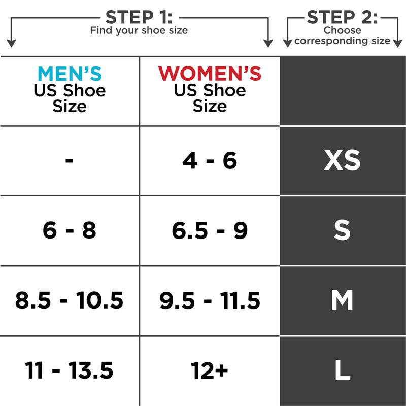 Sizing chart for air cast walking boot. Available in sizes XS-L.