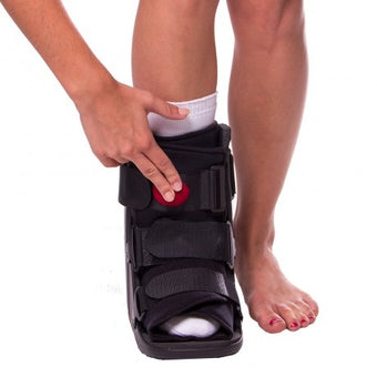 Short air medical walking boot for a broken or injured foot