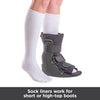 Sock liners work for short or high-top orthopedic walking boots