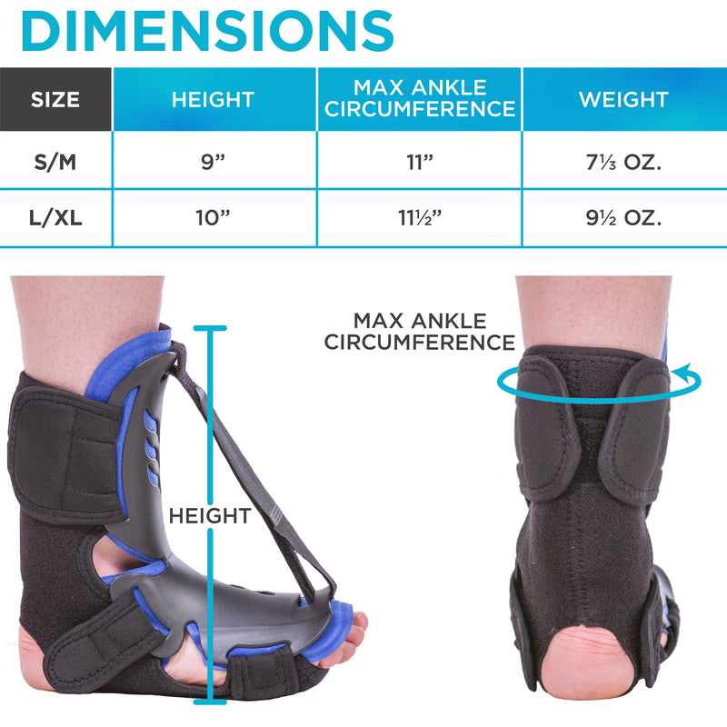 Lightweight dorsal splint for heel spurs and plantar fasciitis goes just above ankle