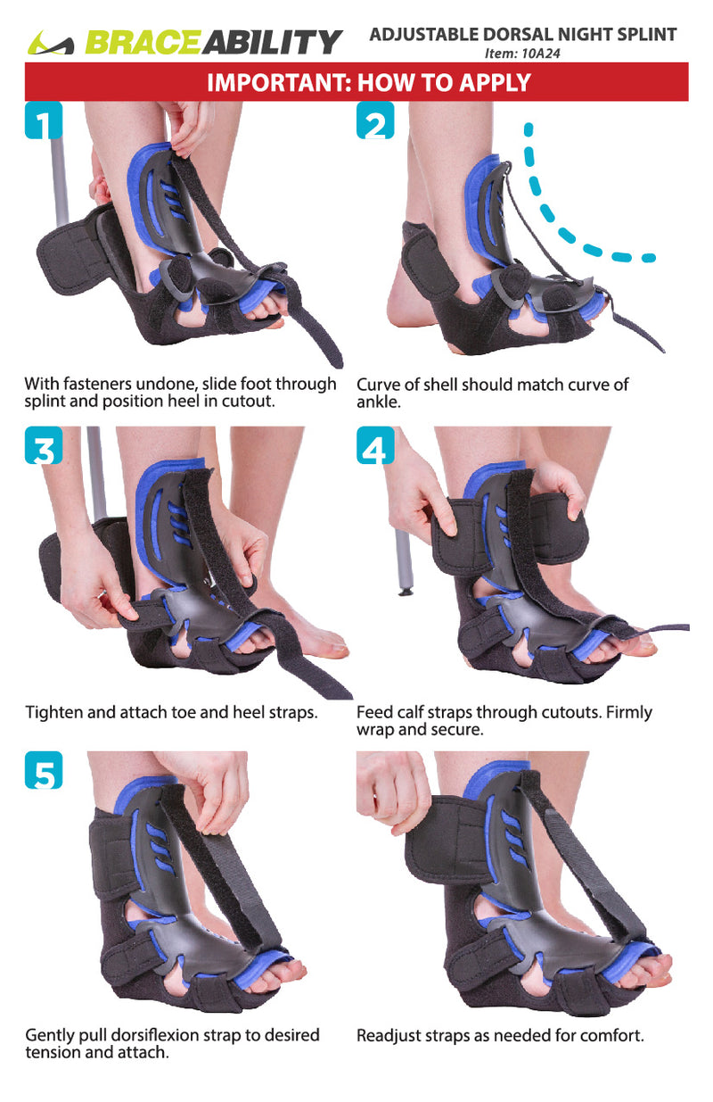 The adjustable dorsal night splint instruction sheet features three adjustable straps for a customized fit