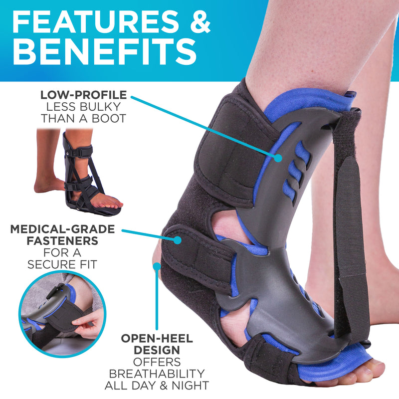 Featuring medical-grade fasteners and an open-heel design the dorsal night splint is a premium plantar fasciitis brace