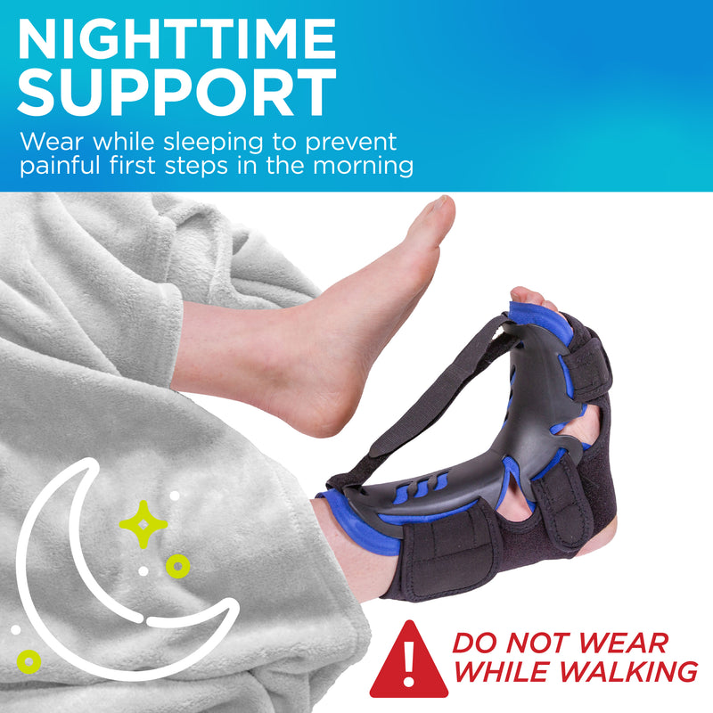 Wear the plantar fasciitis night splint while sleeping to prevent painful first steps in the morning