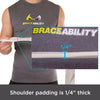 Shoulder padding on this figure 8 back posture brace is 1/4-inch thick