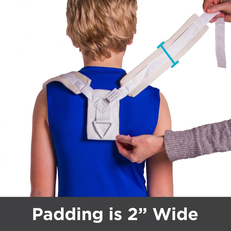 Padded straps on this clavicle fracture brace are 2 inches wide