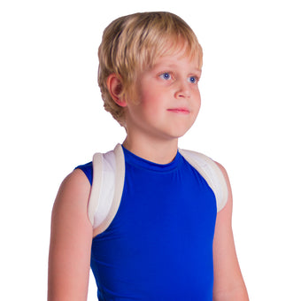 Pediatric clavicle fracture figure-8 brace for a child's broken collarbone