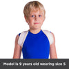 Model pictured is 9 years old and wearing a size small