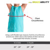 Sizing chart for pediatric figure-8 clavicle splint and posture support. Available in sizes XXS-S.