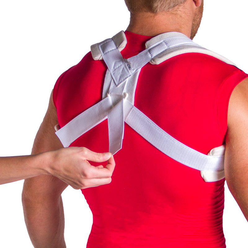 Velcro closures make application and adjustment of this lightweight dislocated clavicle brace a breeze