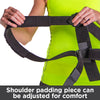 Lightweight shoulder padding piece can be adjusted for comfort