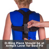 D-ring piece on posture support should be at armpit level for the best fit