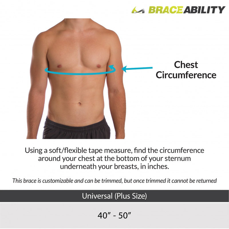 Sizing chart for plus size posture corrector fits chest circumferences from 40-50 inches