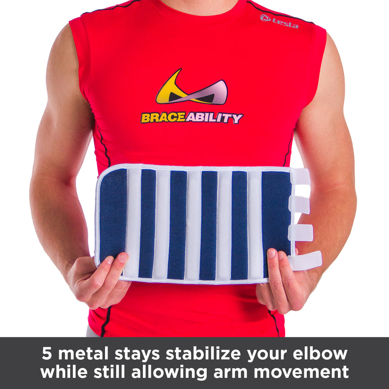 5 metal stays stabilize your elbow while still allowing arm movement