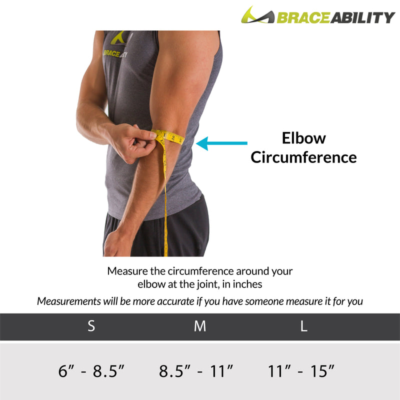 Sizing chart for Adult elbow restraint. Available in sizes S-L.