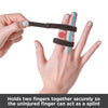 Holds 2 fingers together securely so the uninjured finger can act as a splint