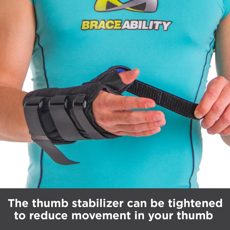 Thumb stabilizer can be tightened to reduce movement in your thumb