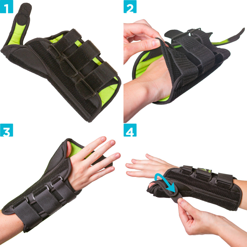 to put on the wrist splint insert your hand into the sleeve and apply straps