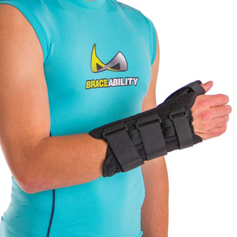 Wrist and thumb splint immobilizes and supports the metacarpophalangeal joint at the base of the thumb
