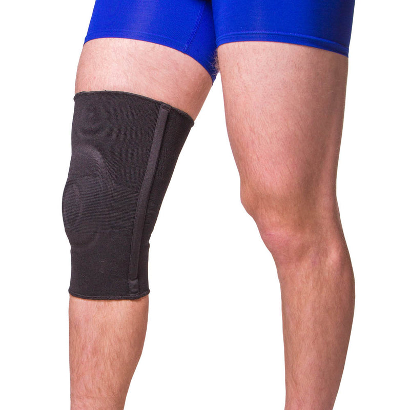 Splints on either side of the knee brace for additional support and stabilization