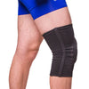 Made of a flat knitted, two-way stretch elastic material that provides comfortable compression to the injured knee