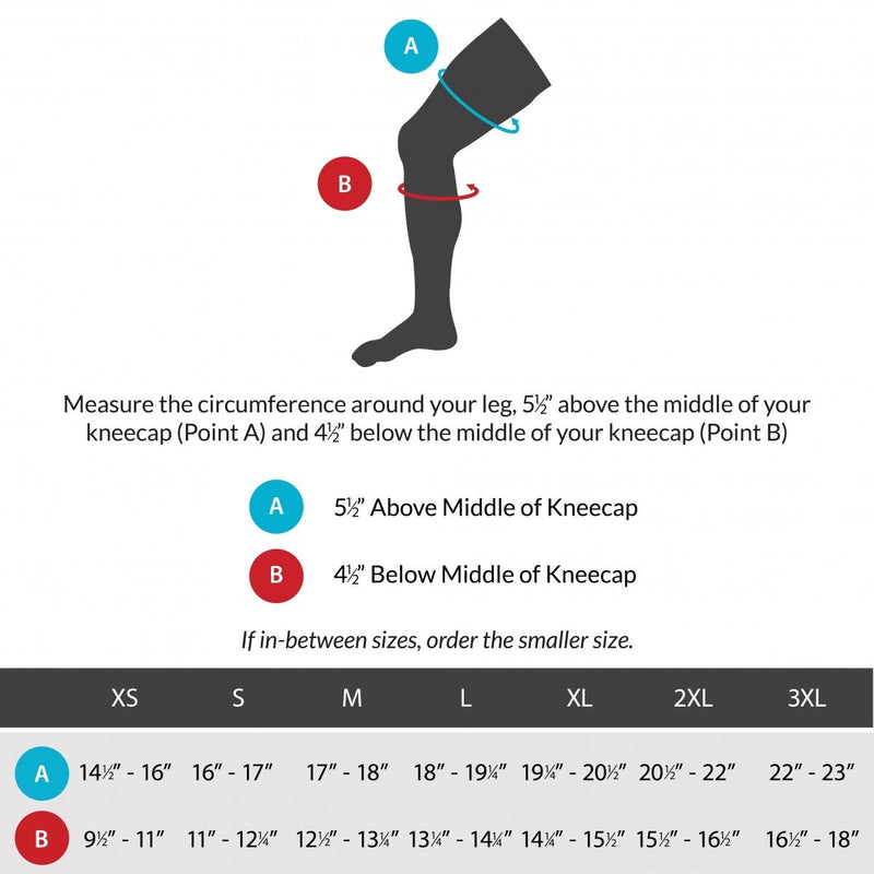 Sizing chart for bursitis knee brace. Available in sizes XS-3XL.