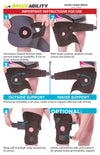 the instruction sheet for the husky knee wrap is a simple wrap-around style with two wide straps
