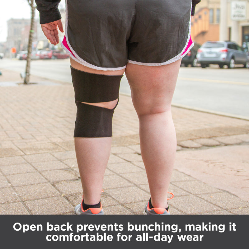 Open back (popliteal) prevents bunching, making it comfortable for all-day wear