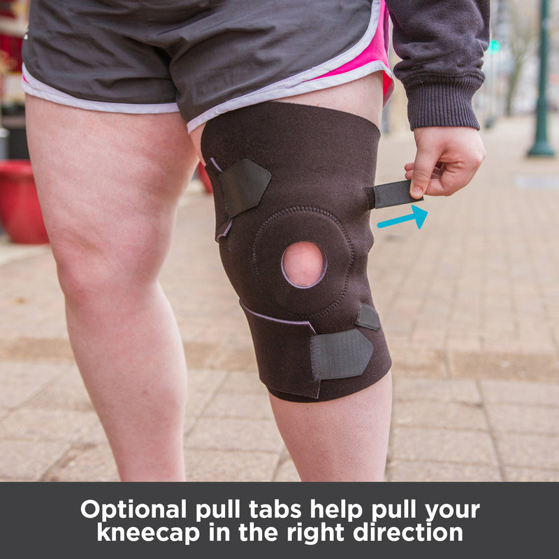Optional pull tabs help pull your kneecap in the right direction