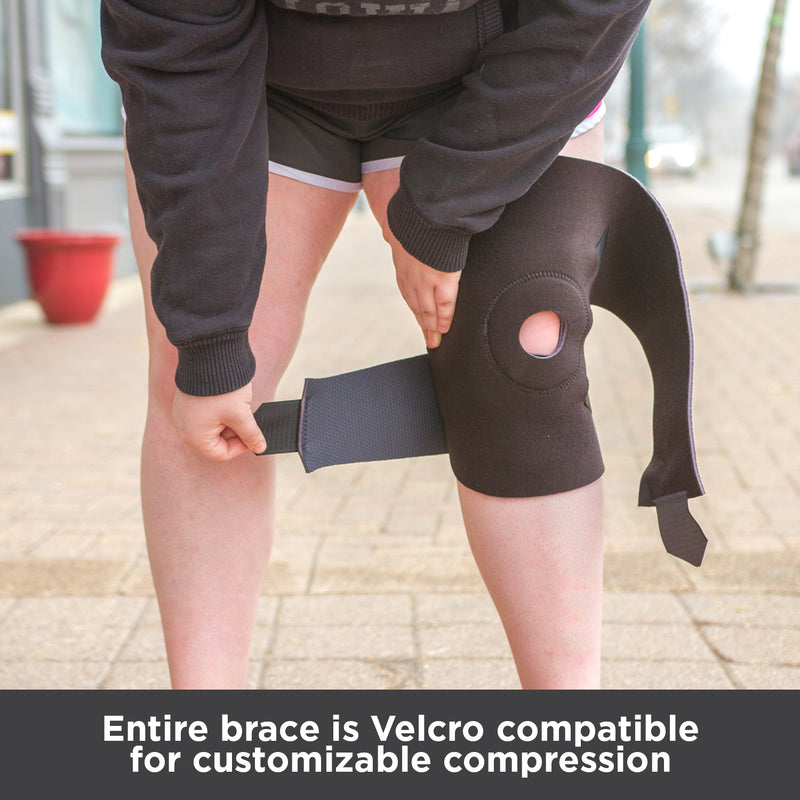 Entire brace is Velcro compatible for customizable compression