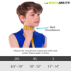 the sizing chart for the kids neck brace comes in three sizes, measure the circumference around your neck to decide