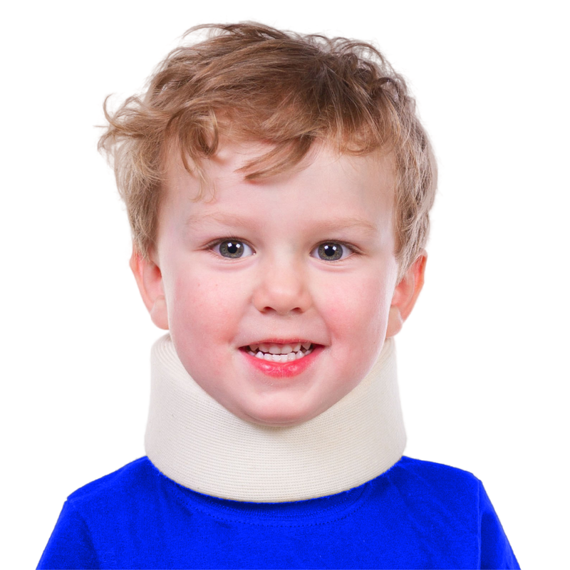 Our pediatric neck brace is made of a soft foam that fits a small neck