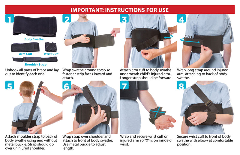 instruction sheet for how to put a shoulder sling on a child
