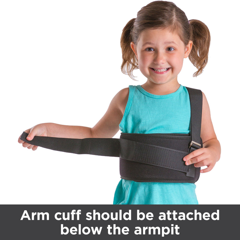 Arm cuff of shoulder sling should be attached below your child's armpit