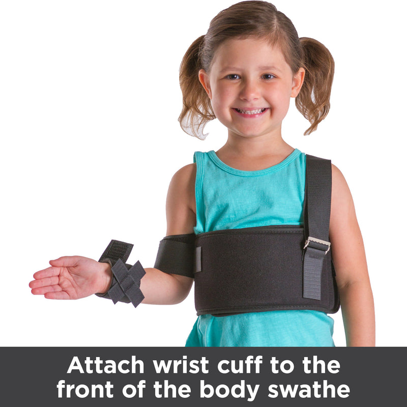 To immobilize the shoulder, attach the wrist cuff to the front of the body swathe
