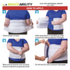 The binder can be put on while lying down or standing up
