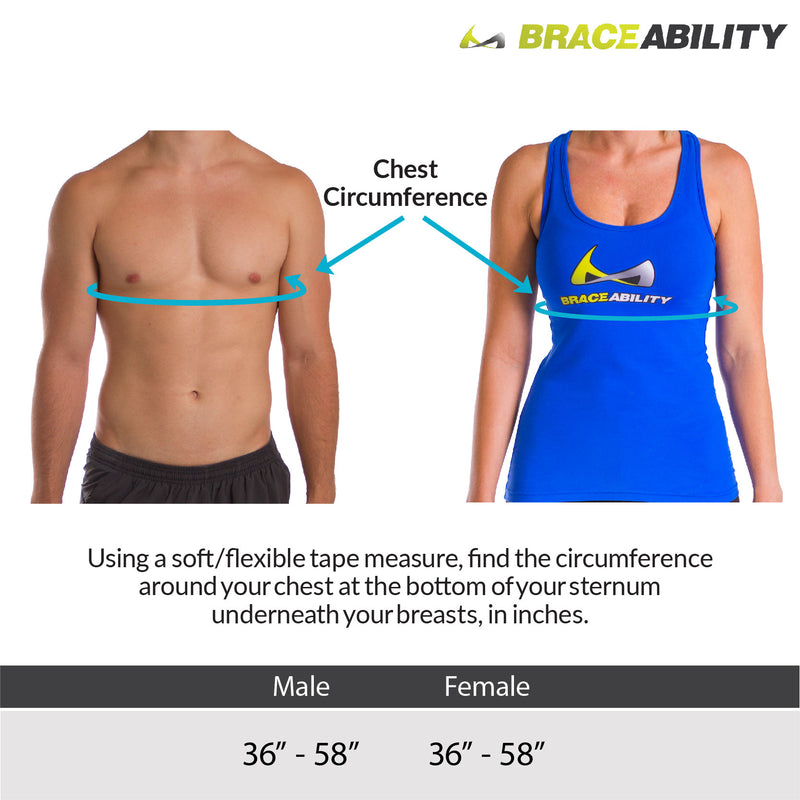 Sizing chart for universal broken rib belt fits men and women's chest circumferences up to 60 inches