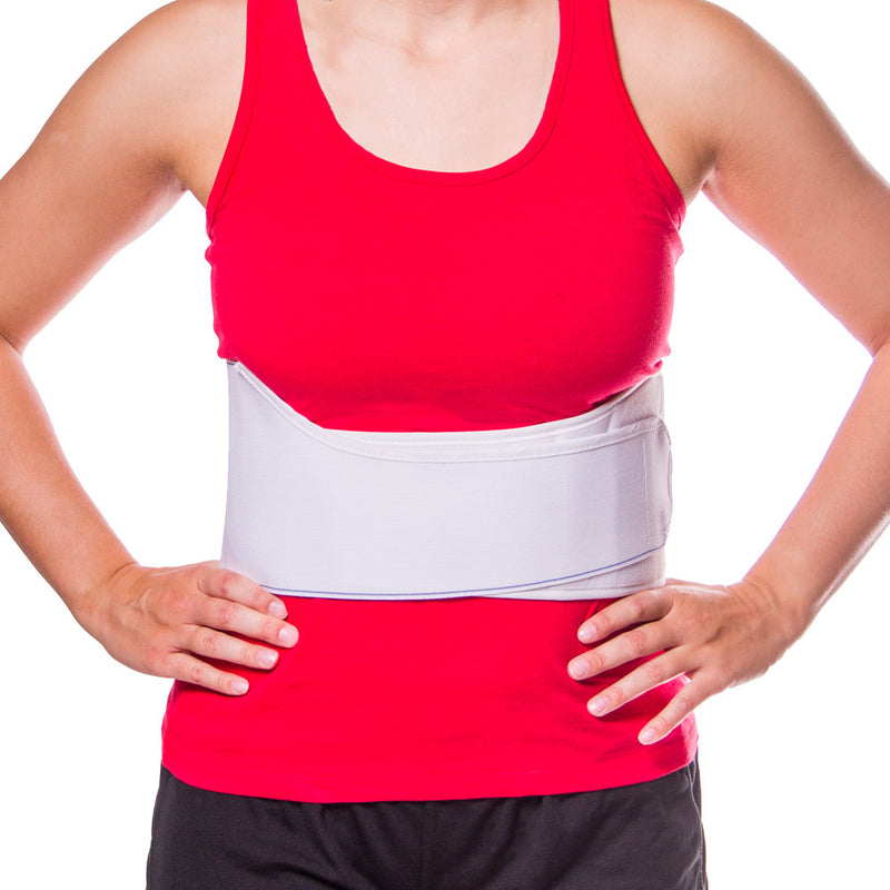 Rib belt for women is contoured to fit the female anatomy