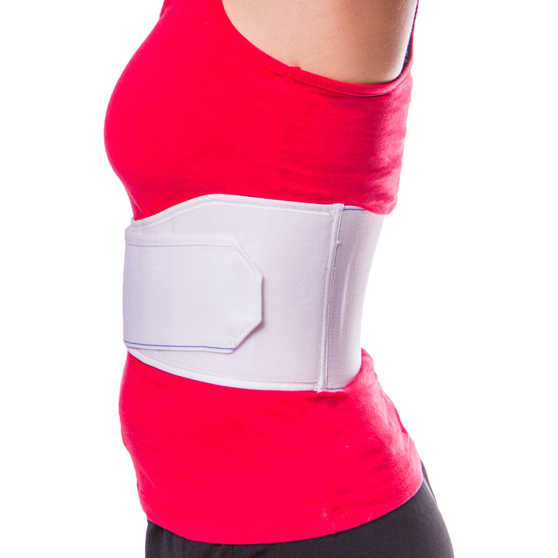 Rib belt for bruised ribs is constructed of breathable, elastic material