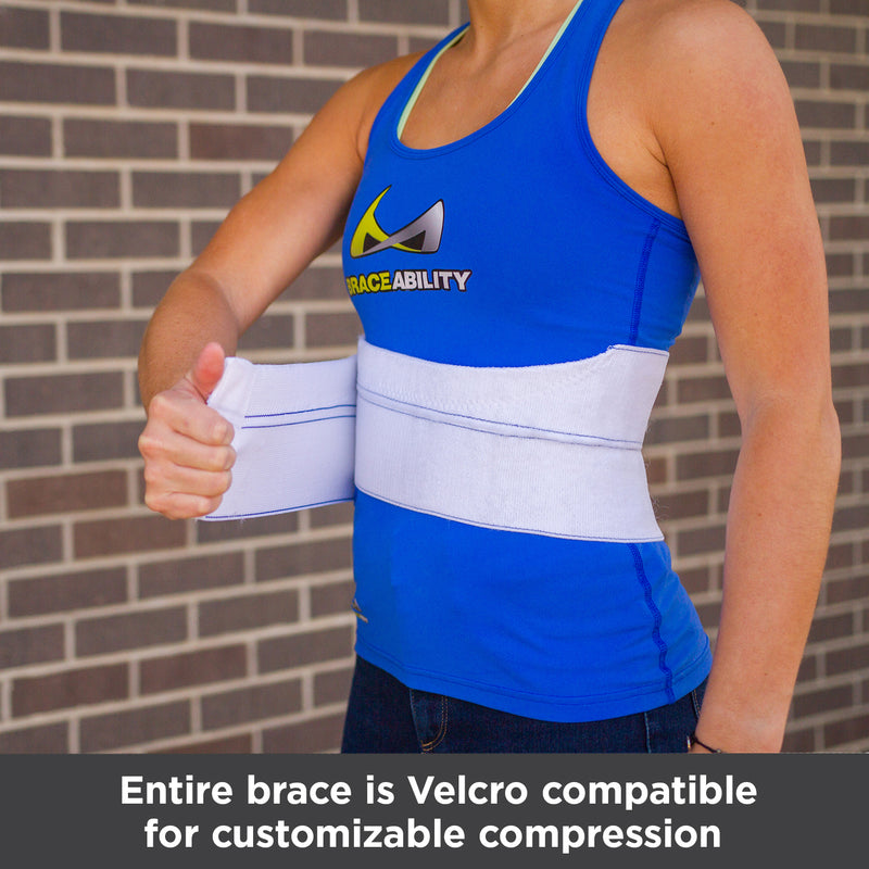 Entire brace is Velcro compatible for customizable rib and chest compression