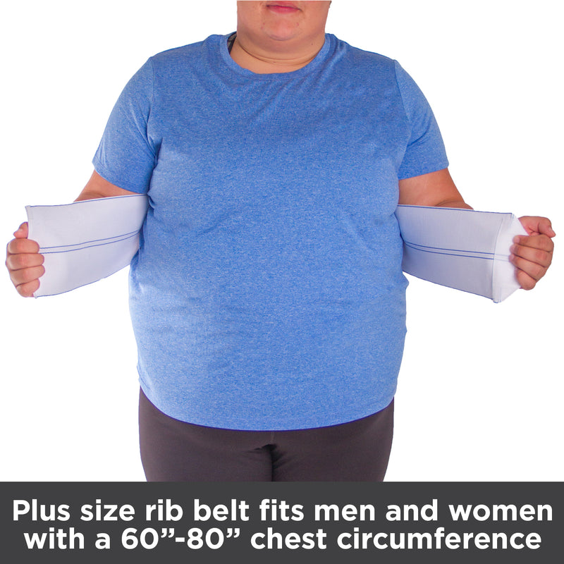 Plus size rib belt fits men and women with a 60-80 inch chest circumference