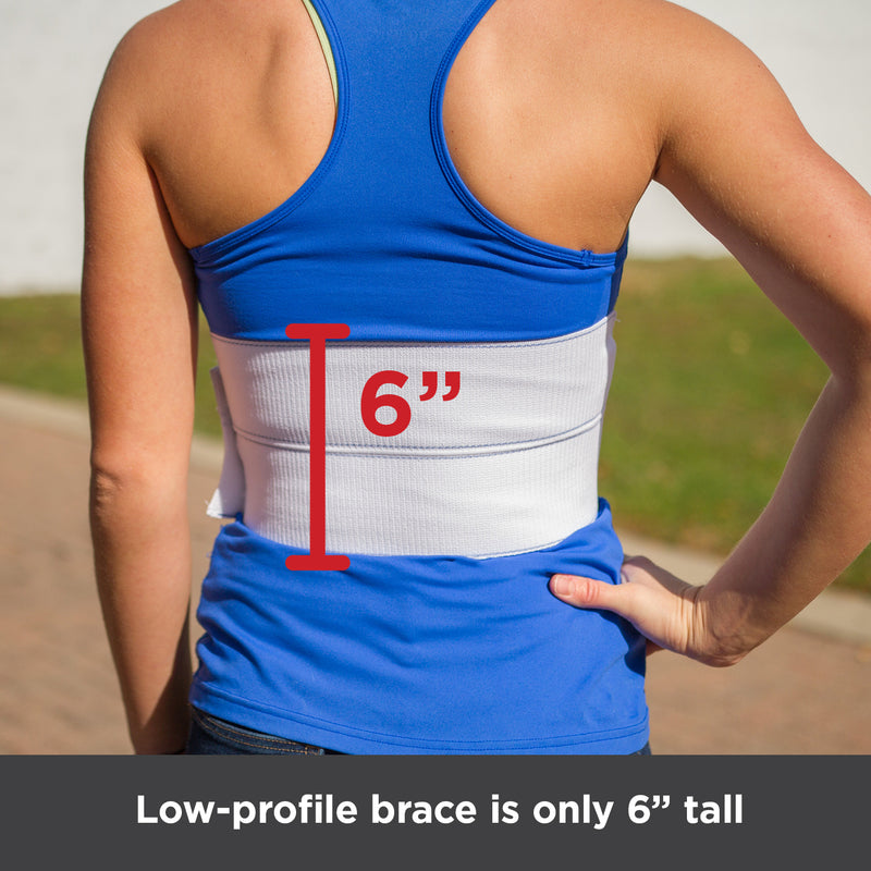 Low-profile broken rib support brace is only 6 inches tall