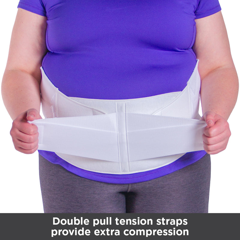 The dual tension straps in front of the obesity belt allow you to adjust the compression level of the brace.