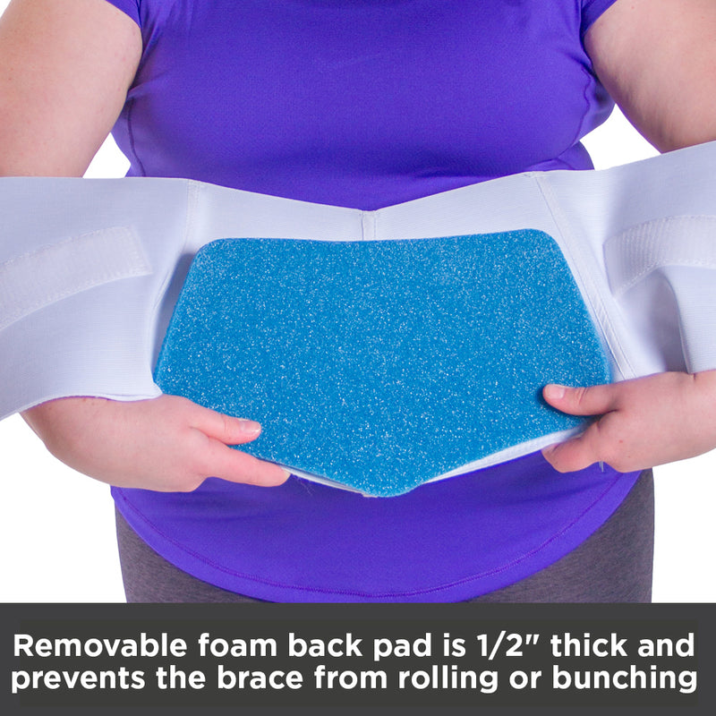 Half inch thick, foam back pad prevents the obesity back belt from rolling down while you wear it