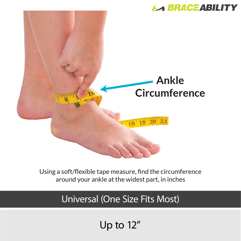 the sizing chart for the plantar fasciitis day ankle brace fits ankles up to 12 inch ankle circumference