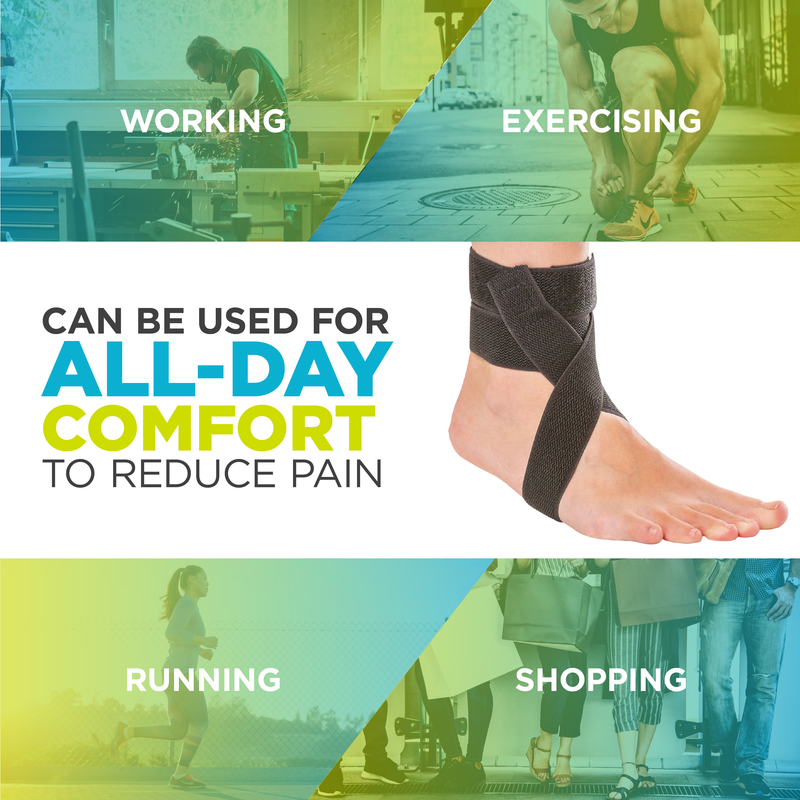 The BraceAbility Plantar Fasciitis Day Ankle Splint provides foot arch pain relief for running, walking, and soccer