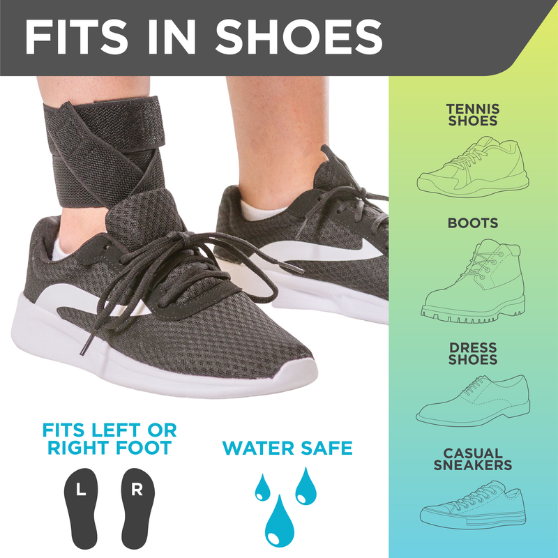 The tendonitis ankle brace fits inside shoes for daytime support for plantar fasciitis